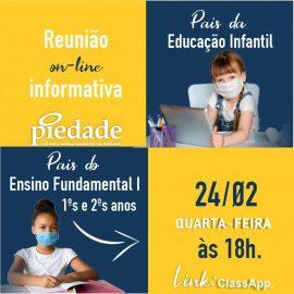 Reunião de Pais da Educação Infantil e dos 1ºa e 2ºs anos do Ensino Fundamental I