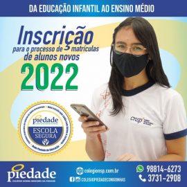 Já estão abertas as inscrições para o processo de matrículas de novos alunos 2022