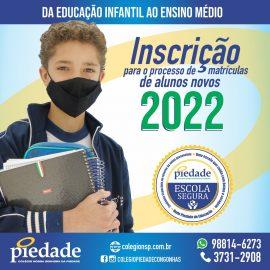 Início do processo de Matrículas de alunos novos 2022